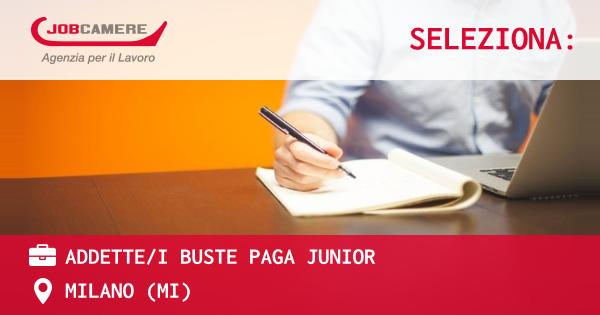 OFFERTA LAVORO - ADDETTE/I BUSTE PAGA junior - MILANO (MI)